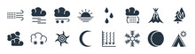 Weather Filled Icons. Glyph Vector Icons Such As Indian Summer, Freezing, Eclipse, Subtropical Climate, Eruption, Snow Storms, Raindrops, Mist Sign Isolated On White Background.