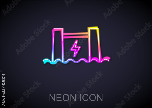 Glowing neon line Hydroelectric dam icon isolated on black background Fototapet