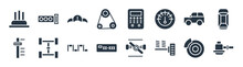 Car Parts Filled Icons. Glyph Vector Icons Such As Car Sump, Car Suspension, Numberplate, Transmission, Hard Top, Dashboard, Fascia (british), Gasket Sign Isolated On White Background.