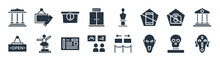 Museum Filled Icons. Glyph Vector Icons Such As African Mask, Mask, Tour, Open, No Photo, Information Desk, Bust, Acrylic Sign Isolated On White Background.