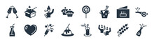 Party Filled Icons. Glyph Vector Icons Such As Opening Champagne Bottle, Birthday Friends, Sweet Cake, Juice Bottle With Straw, Birthday Card, Boy Partying, Candy Paper, Magician Case Sign Isolated