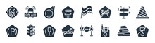 Signaling Filled Icons. Glyph Vector Icons Such As No Hooks, Cigarettes, No Smoke, Parking Brake, Lost, Price Ticket, Pit Stop, On Air Sign Isolated On White Background.