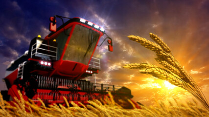 harvester on rye or wheat field on sunrise - not real design computer generated industrial 3D illustration