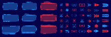 A Large Futuristic Set Of Frames, Arrows, Footnotes, Buttons In Blue And Red On An Isolated Background. The Elements Are Well Suited For Games And Applications. Sci-fi Futuristic Hud Technology Screen