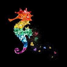 Rainbow Colors Glittering Seahorse With Hearts. Beautiful Colorful Silhouettes On Black Background For Valentines Day, Wedding, Kids, Branding, Label, Banner, Or LGBT Symbol. Vector Illustration.