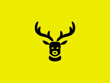Deer Head Vector Design Template, Hunting Illustration Deer Hunter Logo