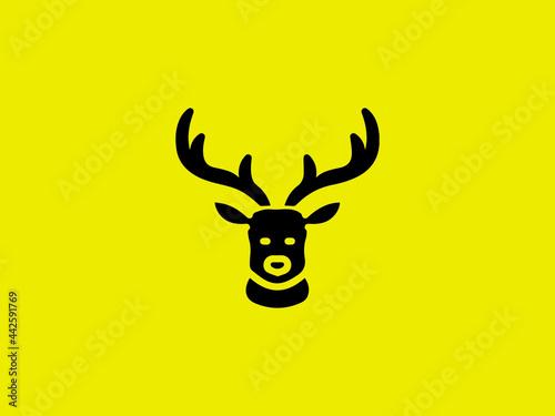 deer head vector design template, hunting illustration deer hunter logo Fotobehang