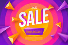 Colorful Sale Banner With Geometric Shapes Design Vector Illustration
