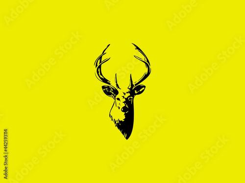 Fotografiet abstract image of a deer head deer vintage logo design vector template