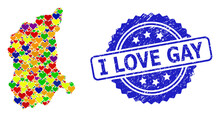 Blue Rosette Textured Watermark With I Love Gay Message. Vector Mosaic LGBT Map Of Lubusz Province With Love Hearts. Map Of Lubusz Province Collage Designed With Love Hearts In Colorful Color Hues.