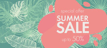 Tropical Leaves Pattern. Summer Sale.  Hand Drawn Illustration.