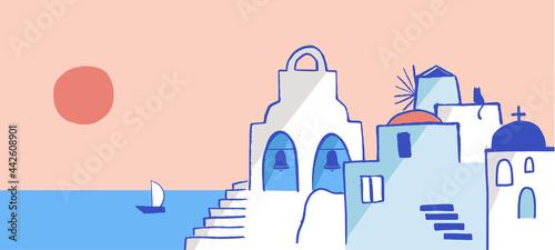Fotografiet Greece hand drawn illustration