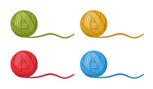 Ball Of Knitting Thread Icon Set. Round Skein Wool, Cotton Yarn For Handmade Crochet, Knit Needles, Sewing Hobby. Material Knitwear Clothes. Blue, Red, Yellow, Green Clew Filament. Cartoon Vector