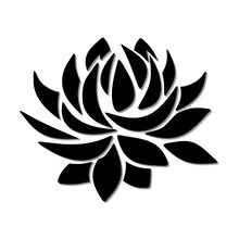 Vector Black Silhouette Of A Lotus Flower Isolated On A White Background.