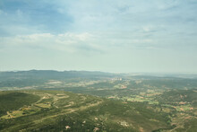 Aerial View Of The Provence Plains And Mountains, Seen From The Top Of Sainte Victoire Mount. Sainte Victoire Mountain Is The Symbols Of Of Aix En Provence, Often Painted By Paul Cezanne...