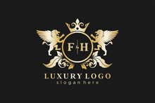 Initial FH Letter Lion Royal Luxury Logo Template In Vector Art For Restaurant, Royalty, Boutique, Cafe, Hotel, Heraldic, Jewelry, Fashion And Other Vector Illustration.