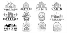 Set Of Cabin Or Cottage Logo Vector Illustration Template Icon Design. Bundle Collection Of Various Cabin And Cottage For Business Travel Adventure And Camping Concept Holiday Logo Design