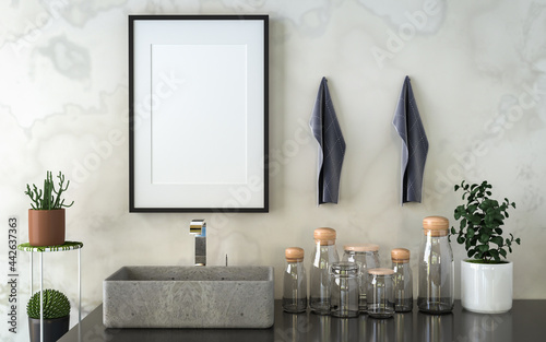 Bathroom with washbasin with picture frame attached to the wall Fototapet