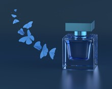 Perfume Vector Print. Blue Bottle Haute Couture, Beauty Stylish Illustration. Aroma Liquid. Cosmetic Fragrance