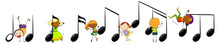 Musical Melody Symbols With Many Doodle Kids Cartoon Character