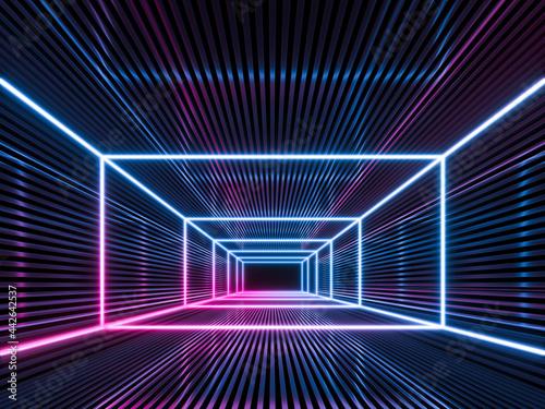 Fotografie, Obraz Futuristic Sci Fi Dark Empty Background With Blue And Purple Neon Lights