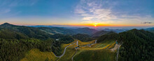 Panorama Aerial View Landscape Sunset Nature Flower Tung Bua Tong Mexican Sunflower During Evening Sunset In Mae U Kho, Khun Yuam District, Mae Hong Son Province, Thailand.