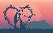 Silhouette Of Romantic Couple Have Engagement