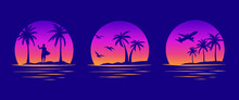Beaches, Palms And Surfing. Miami California Hawaii Design. 80s Old School Tattoo Vector Art. Gradient Sunsets With Sillhouettes | Vector Graphics For Apparel T-shirt