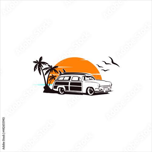 Fotografie, Obraz Woody surf wagon illustration Woody Wagon vector Images logo design inspiration
