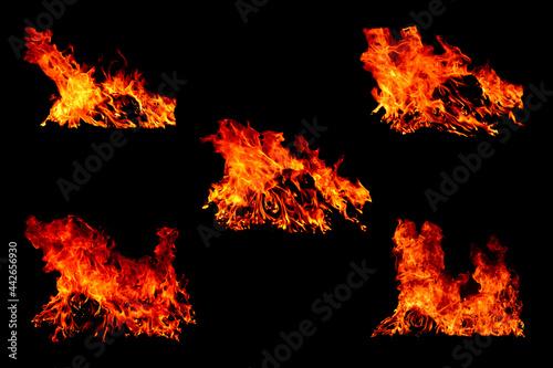 Obraz na plátně The set of 5 thermal energy flames image set on a black background