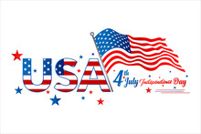 United States Of America 4th Of July, Independence Day Vintage Logo Badge Illustration. Calligraphic Fourth Of July Vector Typography For Banner Or Poster Design. Vector Background