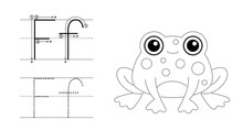 Trace The Letter And Picture And Color It. Educational Children Tracing Game. Coloring Alphabet. Letter F And Funny Frog