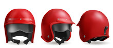 Red Motorcycle Helmet With Glasses, Retro Biker Headwear, Vintage Accessory. Driver Round Hat With Glossy Surface, Soft Black Lining And Belt Front, Back And Angle View, Realistic 3d Vector Set