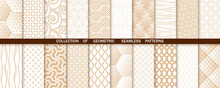 Geometric Set Of Seamless Gold And White Patterns. Simple Vector Graphics