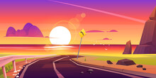 Road To Sea Beach Sunset Landscape. Mountain Asphalt Way With Dusk Seaview, Curly Empty Highway With Turn Sign In Rocky Shore. Summer Travel To Ocean Scenic Background, Cartoon Vector Illustration