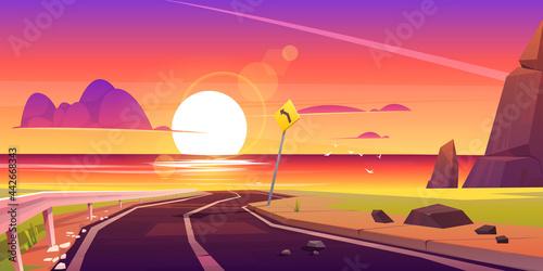 Fotografie, Tablou Road to sea beach sunset landscape