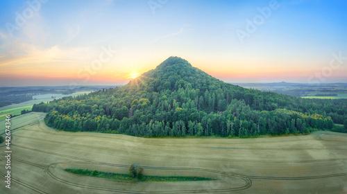 Canvas Aerial view of Ostrzyca Proboszczowska - extinct volcano, or rather a volcanic c
