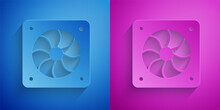 Paper Cut Computer Cooler Icon Isolated On Blue And Purple Background. PC Hardware Fan. Paper Art Style. Vector