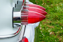 Red Taillights On An Old Classic American Car