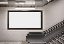 Panoramic 2:1 Glowing Billboard On Underground Wall Mockup. Hoarding Advertising On Train Station Wall 3D Rendering