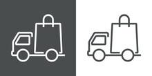 Icono Con Camión De Transporte Con Bolsa De La Compra Con Lineas En Fondo Gris Y Fondo Blanco