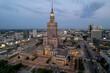 Warszawa - centrum miasta, zachód słońca, wieżowce widziane z drona