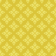Seamless Pattern With A Pattern Of The Silhouette Of Tulips And Leaves. Design In Gold And Yellow For Printing, Packaging, Fabric. Damascus Styling. Vector Illustration