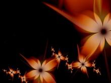 Orange Fractal Image As  Background With Flower. Creative Element For Design. Fractal Flower Rendered By Math Algorithm. Digital Artwork For Creative Graphic Design.
