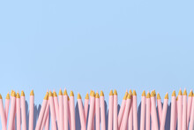 3d Rendering Of Pink Pencils On A Blue Background, Minimal Concept, Back To School.