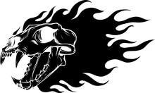Vector Illustration Of Silhouette Tiger Skull With Flames