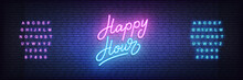 Happy Hour Neon Template. Glowing Neon Lettering Happy Hour Sign