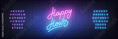 Fototapeta Happy Hour neon template. Glowing neon lettering Happy Hour sign