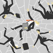 Vector Illustration Businessmen Caught Web