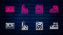 Set Line Lipstick, Cigarettes Pack Box, VHS Video Cassette Tape And Sport Sneakers. Glowing Neon Icon On Brick Wall. Vector
